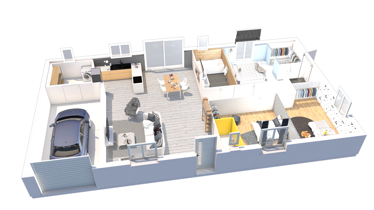 Une plan de maison droite bioclimatique constructeur de for Maison bioclimatique plan