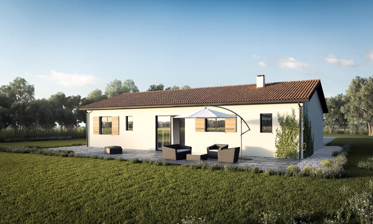 Une plan de maison droite bioclimatique constructeur de for Maison moderne carre