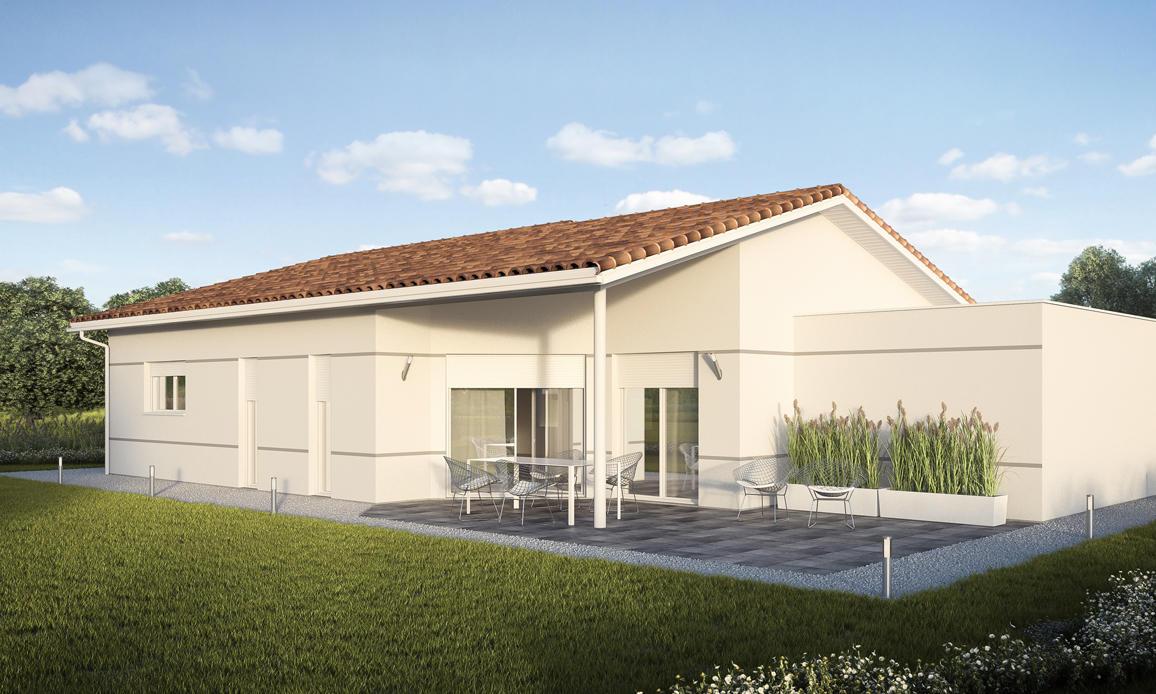 Plan de maison contemporaine avec garage en toiture plate for Construire sa maison sans constructeur