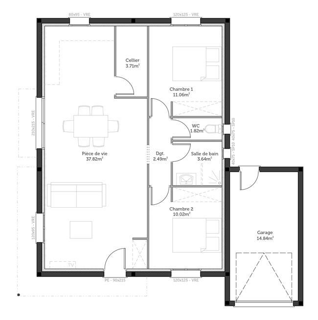 plan de maison 70 metre carre
