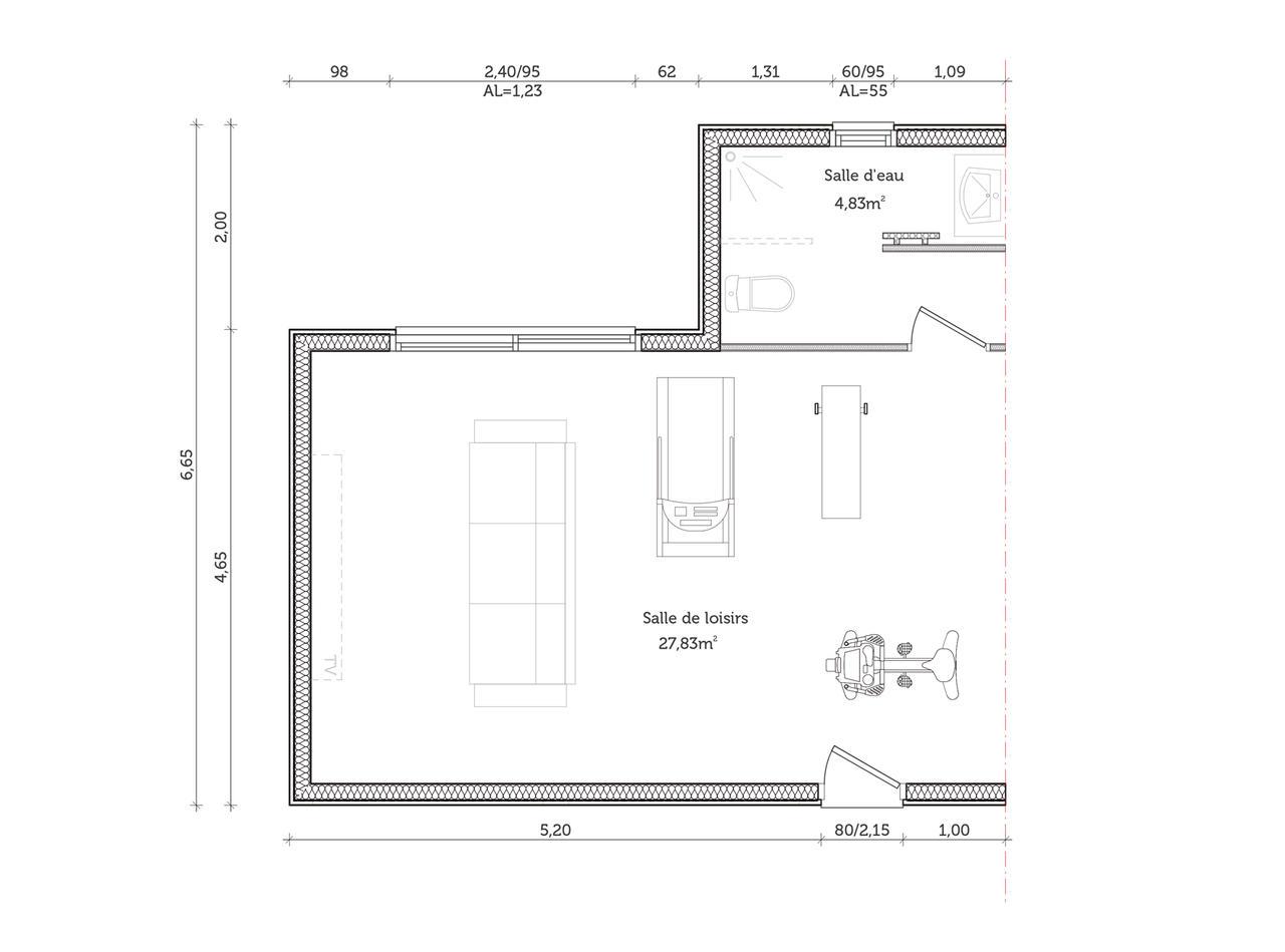 Projet d 39 extension de maisons une pi ce de loisirs for Calcul metre carre d une piece