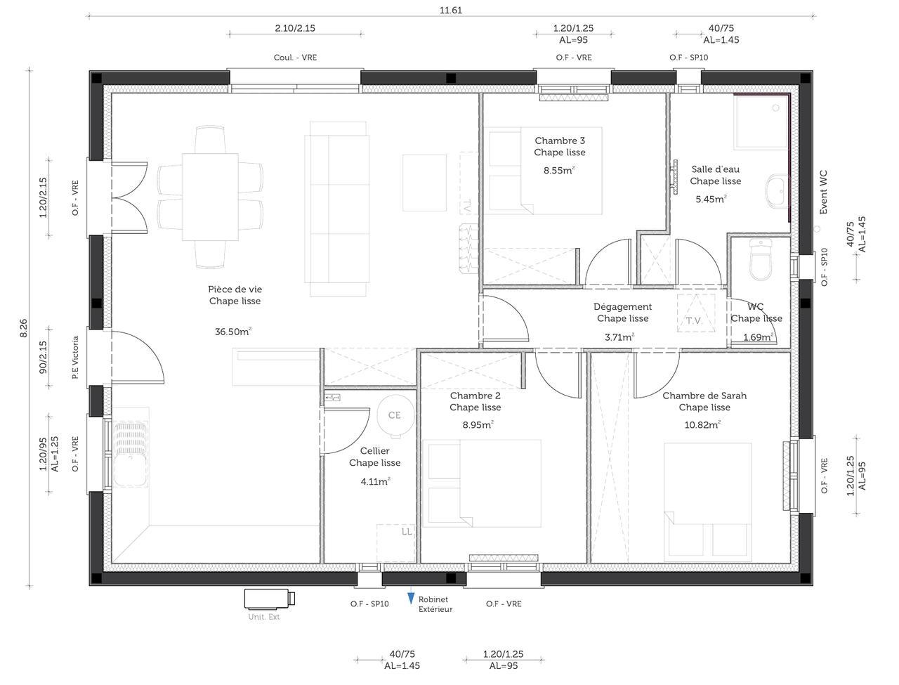 Une premi re maison de 80m2 habitables constructeur for Chambre 8 metre carre