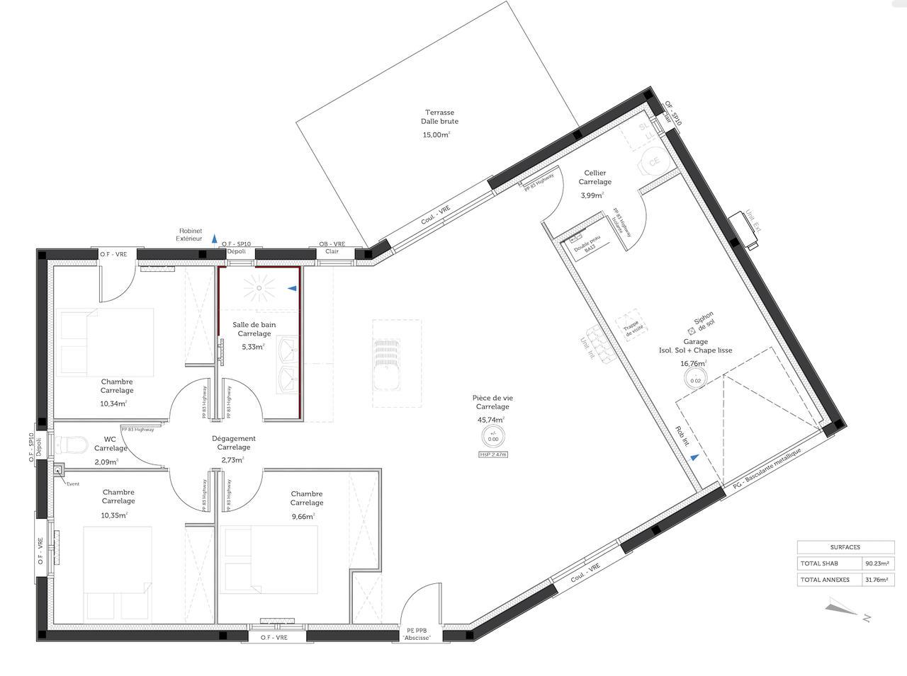 Plan maison de campagne plan du0027une maison de 90m2 for Plan maison de campagne