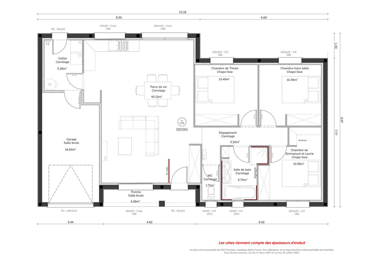 90m2 habitables saint caprais de lerm constructeur de maisons m tre carr for Projet construction