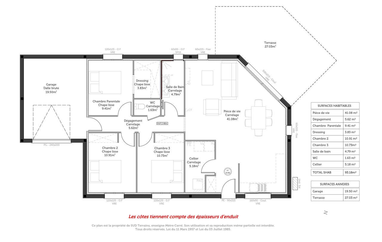 une construction contemporaine de 90m2 habitables constructeur de maisons m tre carr agen. Black Bedroom Furniture Sets. Home Design Ideas