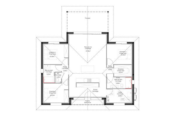 Plan de maison contemporaine, maison arcachonnaise