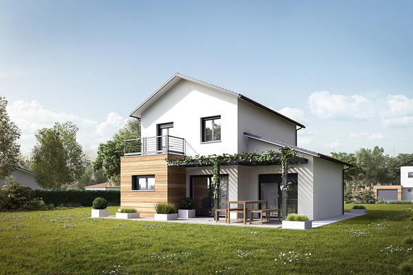 Modèle de maison RT2012 à étage avec suite parentale, garage et terrasse - Mètre Carré Bordeaux Toulouse Agen