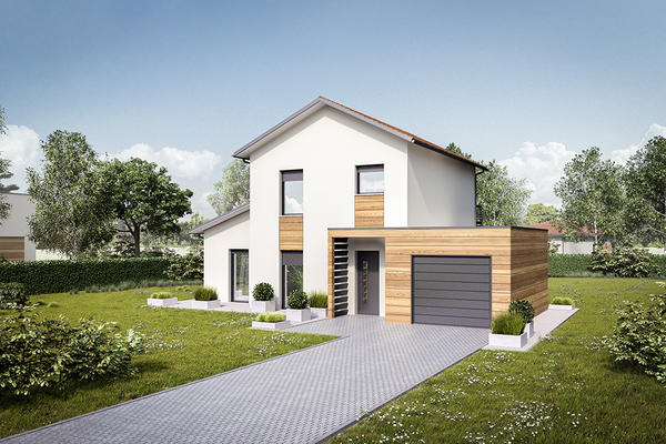 Maison à étage avec garage en toiture plate et porche d'entrée - Mètre Carré Bordeaux Toulouse Agen