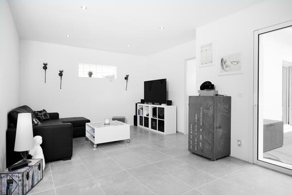 Salon / séjour ouvert sur l'extérieur projet de construction Mètre Carré