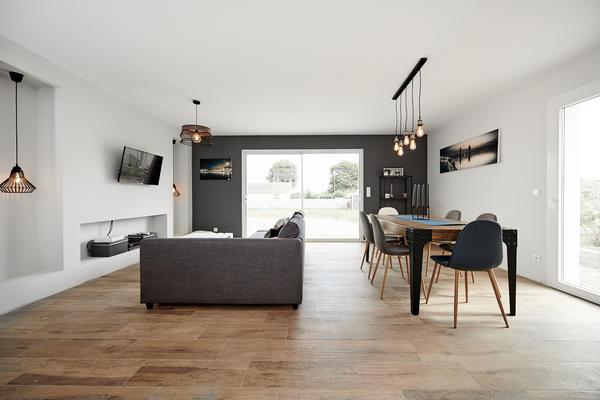 Pièce de vie - Maison contemporaine à Cussac-fort-Médoc - Constructeur de maisons Bordeaux