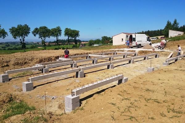 Construction : Fondation sur pieux à 4,65m - projet Mètre Carré