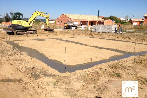 Coulage des fondations à Brax : projet de construction Mètre Carré