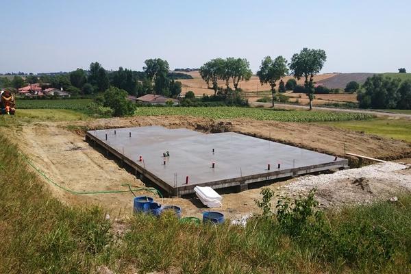 Construction : fondation et dalle  - projet Mètre Carré