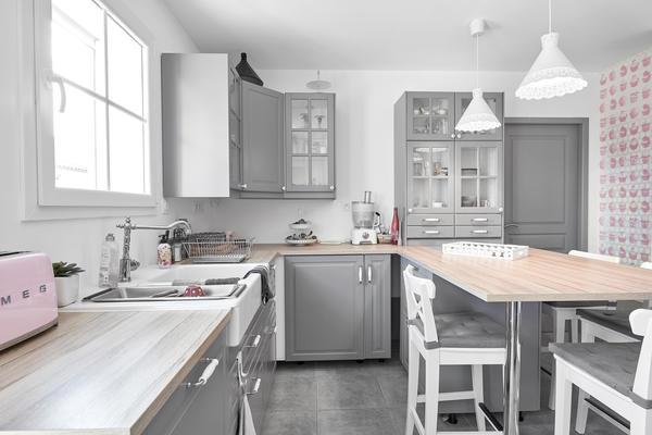 Cuisine cosy, esprit campagne chic - Maison sur-mesure Mètre Carré Agen Bordeaux et Toulouse