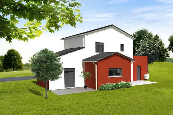 Projet de construction RT2012 - façade arrière Mètre Carré