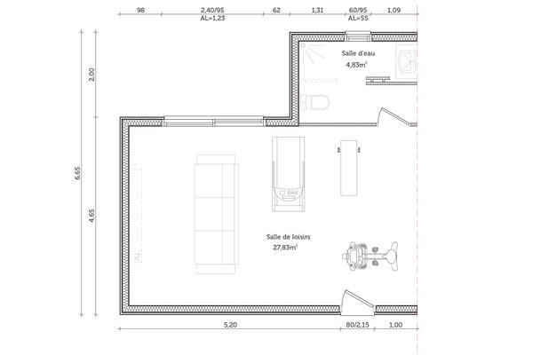 Plan de distribution projet d'extension - Mètre Carré