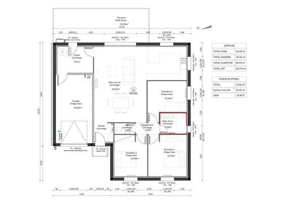 Plan de distribution Maison en L - Projet de Construction Mètre Carré Constructeur de maisons