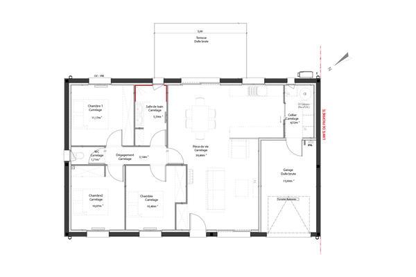Plan de distribution maison T4 avec garage