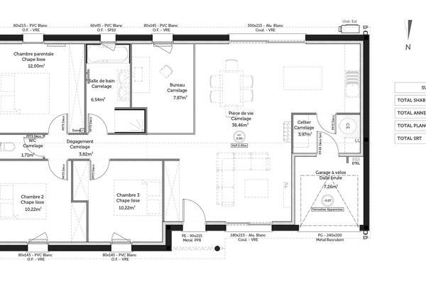 Plan maison contemporaine T5 - projet de construction Mètre Carré à Bordeaux