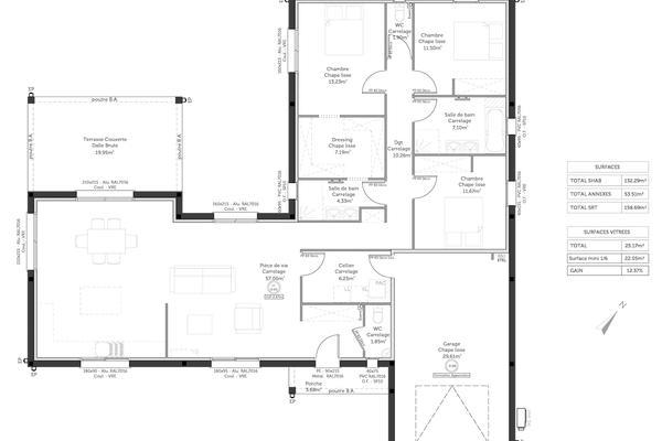 Plan de maison contemporaine Mètre Carré : constructeur Agen Bordeaux Toulouse