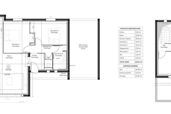 Plan de la construction - toit terrasse 120m2 habitables