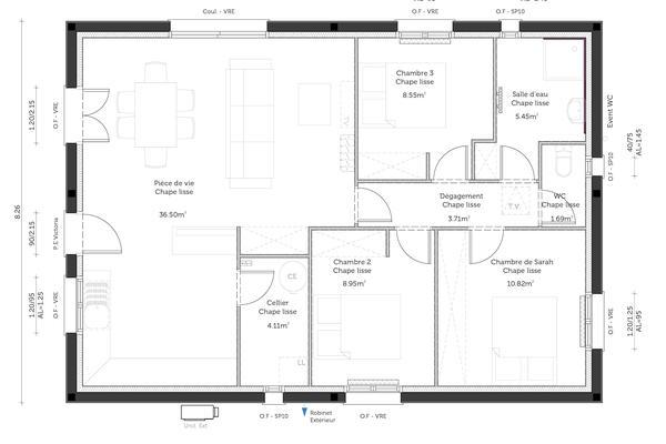 Plan de maison 3 chambres - Constructeur de maisons Agen Bordeaux Toulouse
