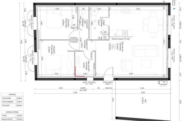 Plan de distribution Mètre Carré - maison 2 chambres avec abri voiture