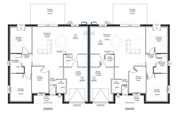 Plan de distribution maisons mitoyennes - Projet locatif - Constructeur Agen Bordeaux et Toulouse