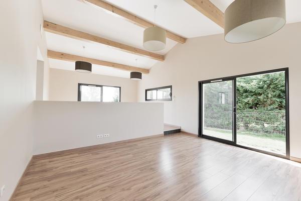 Salon ouvert sur le séjour, construction Mètre Carré
