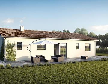 Maison en L + garage - constructeur de maisons Bordeaux