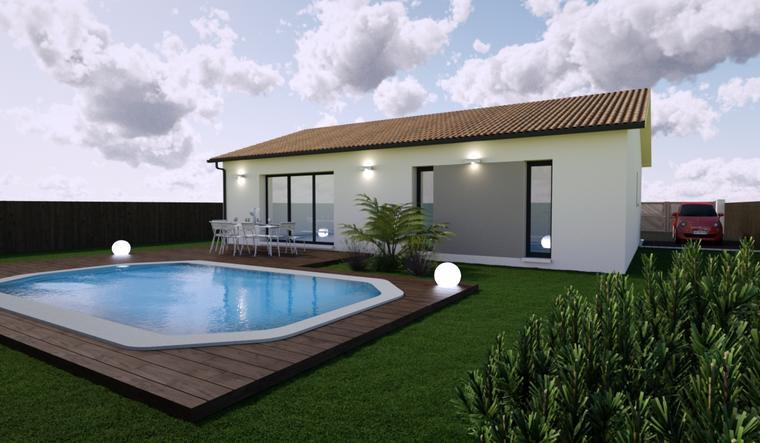 Maison neuve 90m² sur mesures - Terrain 861m² - constructeur de maisons Bordeaux