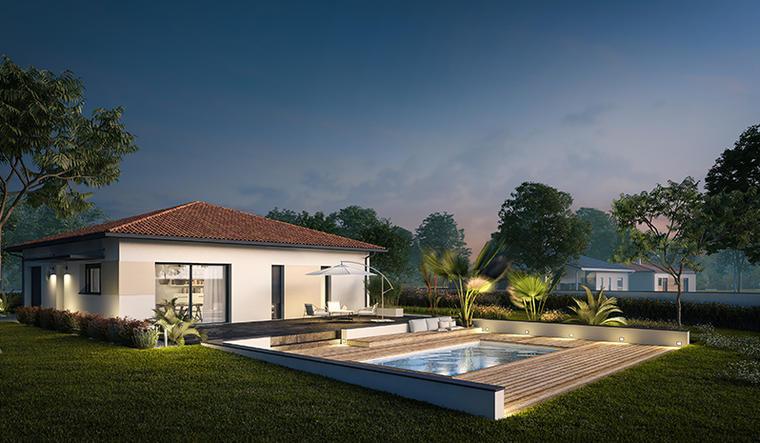 Maison 90 m² avec terrasse couverte - constructeur de maisons Bordeaux