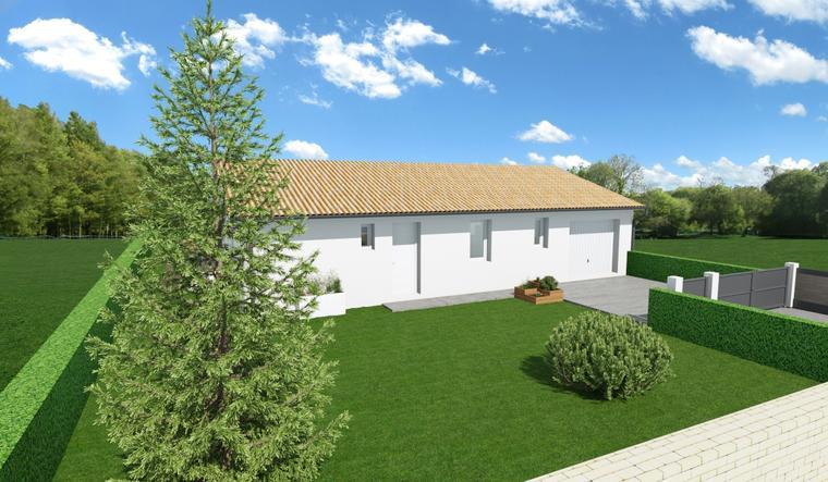 TERRAIN 556M2 + MAISON 90M2 ET GARAGE - constructeur de maisons Parentis